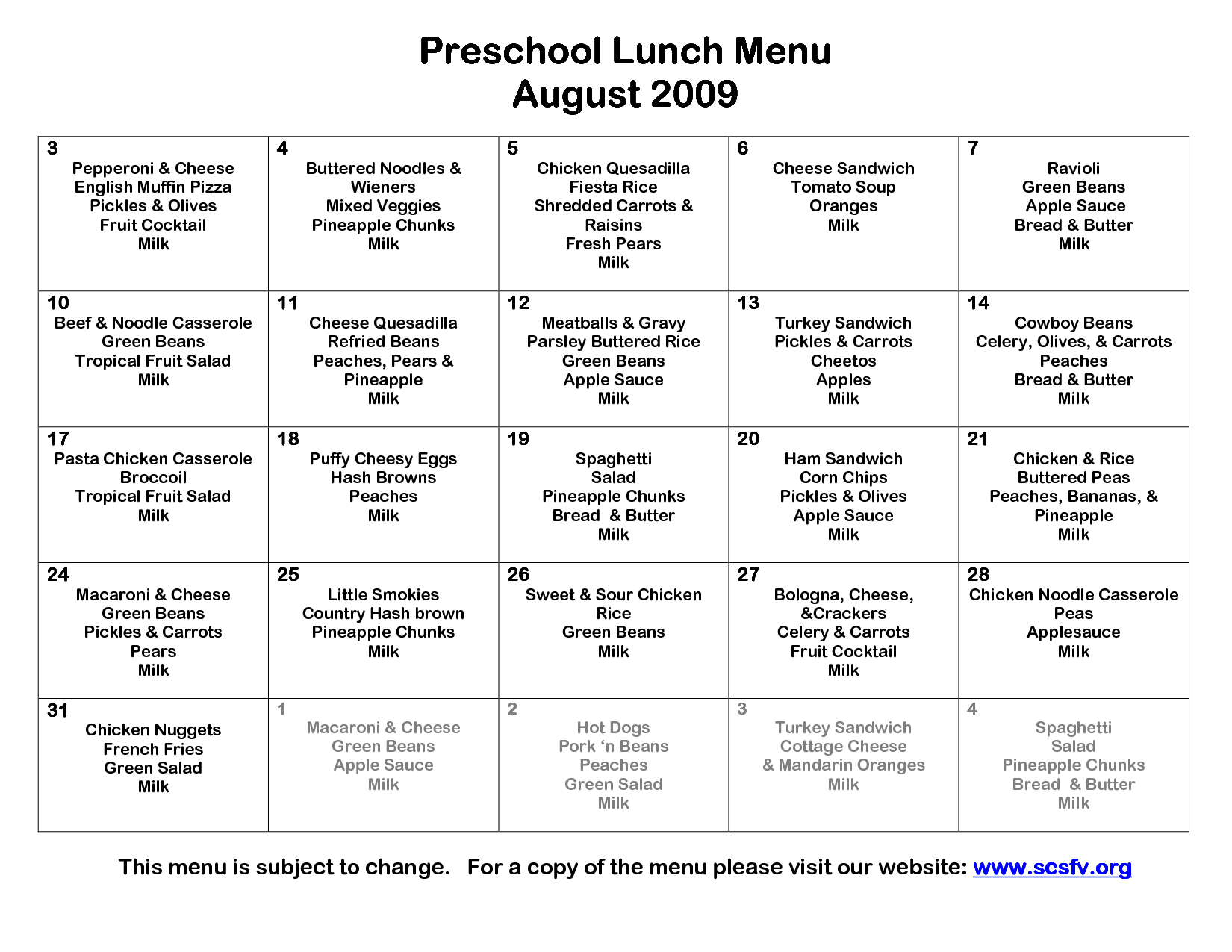 preschool lunch menu template  with images
