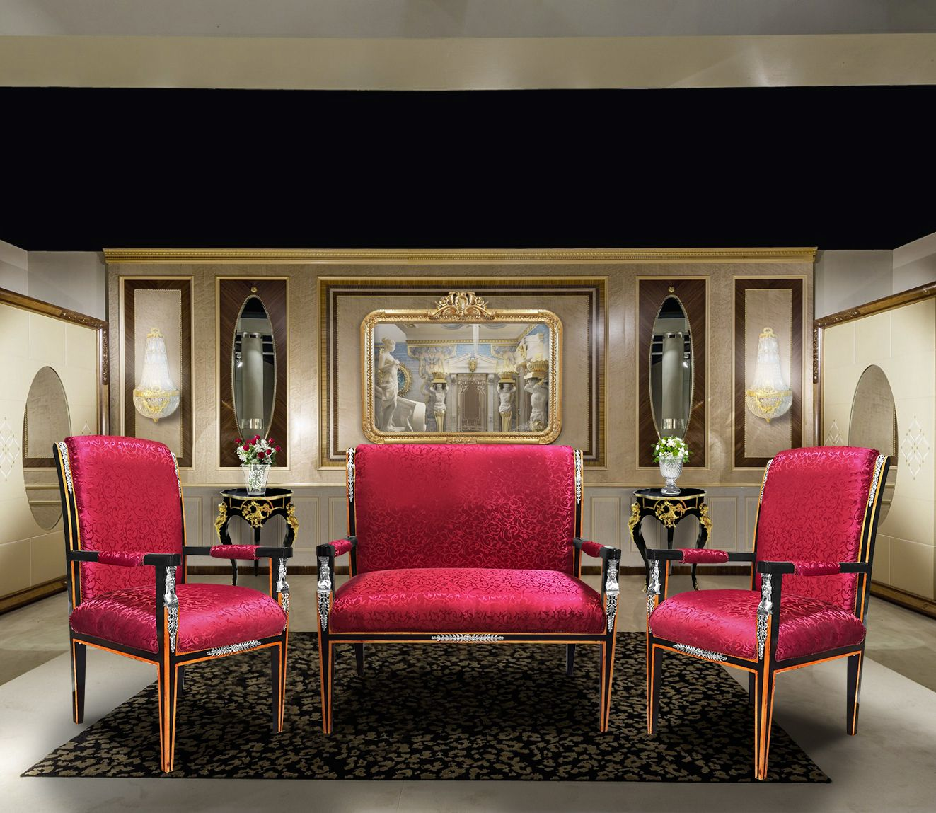Empire style sofa golden satin fabric and black lacquered wood with bronze