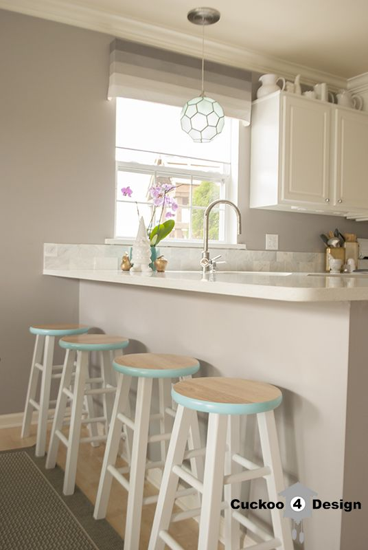 Diy Counter Heights Stool Makeover From Plain Brown Ones Sold At Endearing Walmart Kitchen Stools Inspiration