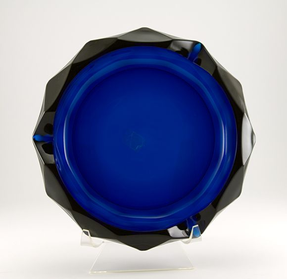 Blue diamond art glass ashtray