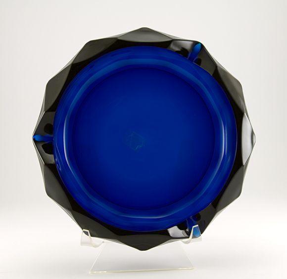 Blue Diamond Art Glass Ashtray Glass Art Viking Art Cobalt Glass