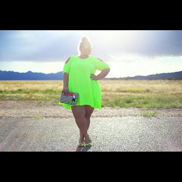 Photo of Plus size neon cold shoulder dress Worn for photo shoot Dresses