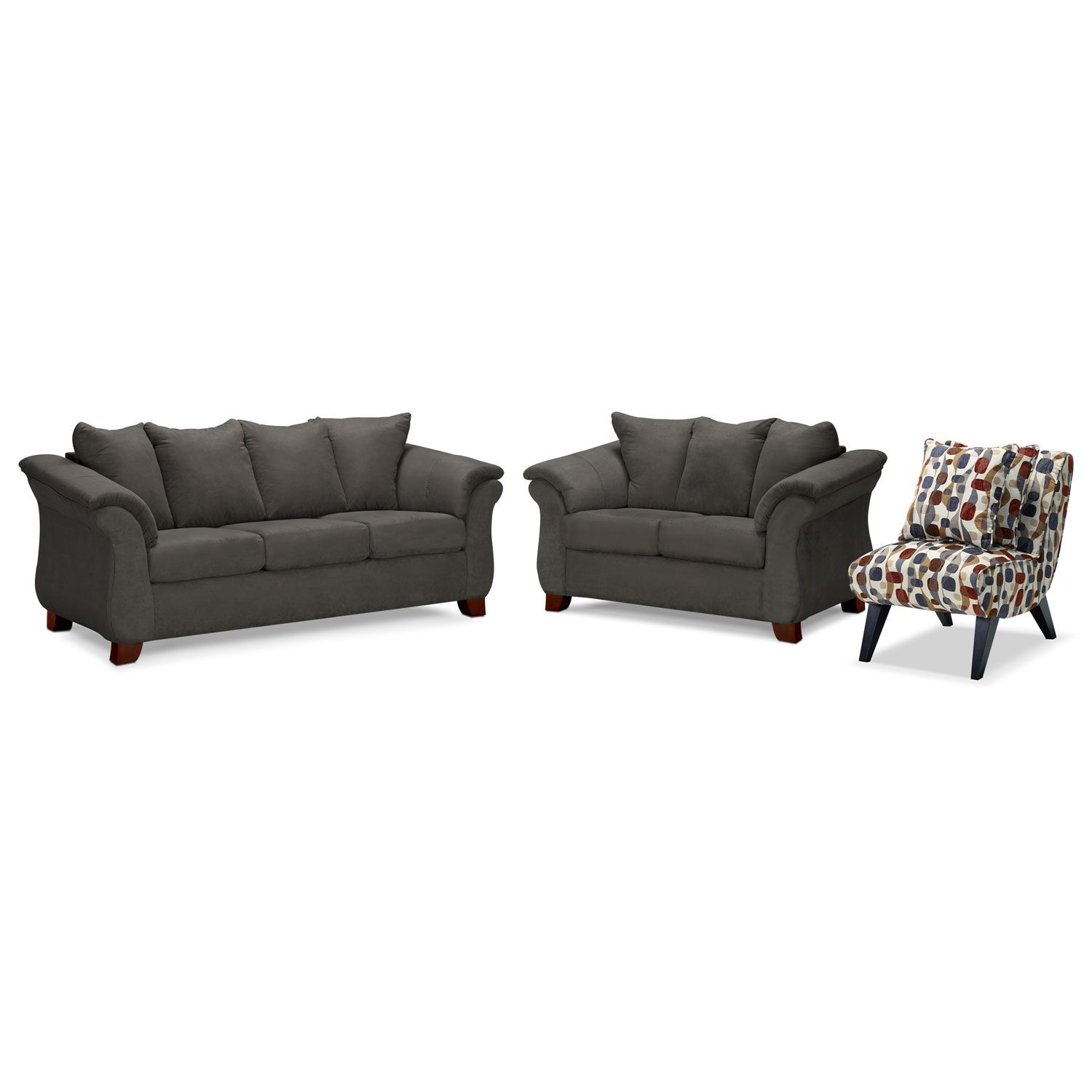Living Room Furniture Adrian Graphite 3 Pc W Accent Chair