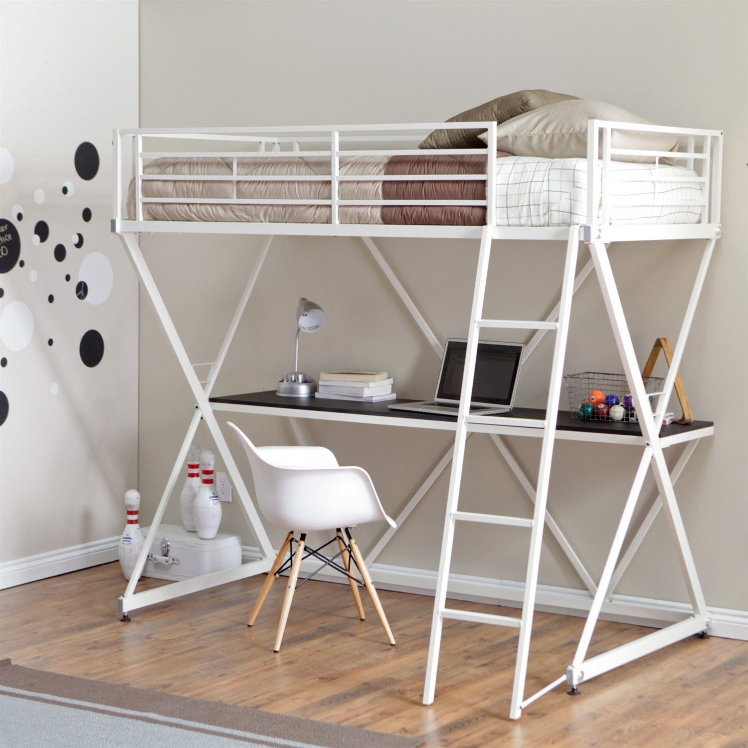 Best This Modern Twin Size Bunk Bed Loft With Desk In White 400 x 300