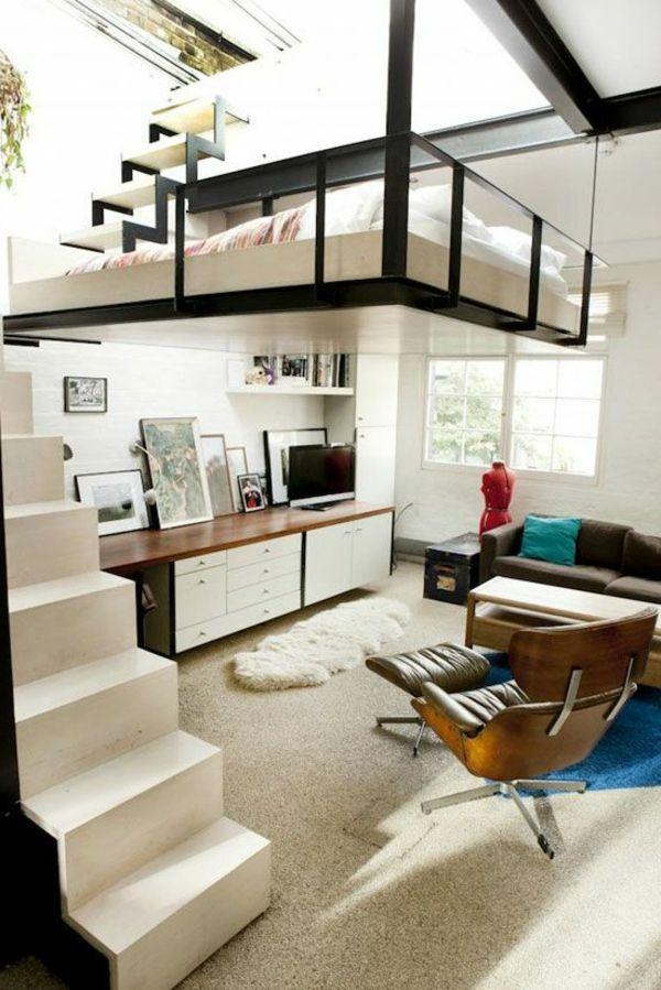 Modernes interior mit einem hochbett diy pinterest for Hochbett diy