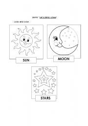 English worksheet: sun, moon and stars