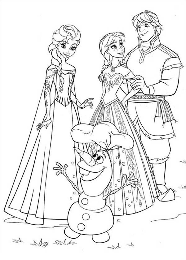 Anna Elsa Kristoff And Olaf Coloring Page Frozen