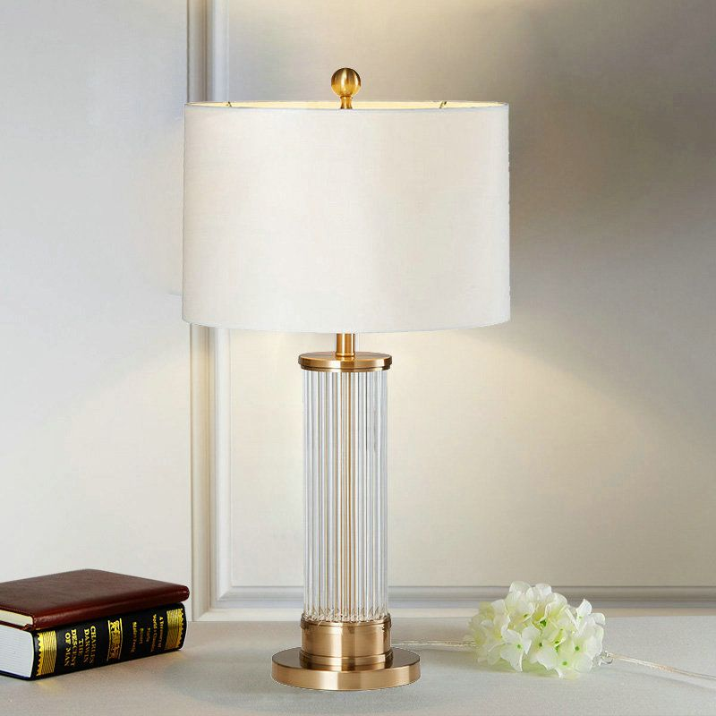 Contemporary Simple Table Lamp Bedroom Study Room Table Lamp Iron Glass Fixture Fabric Round Shade Desk Lamp Table Lamps For Bedroom Table Lamp Bedroom Lamps