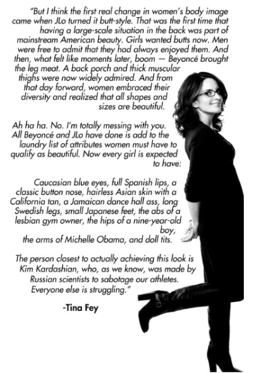 Tina Fey quote on beauty body image