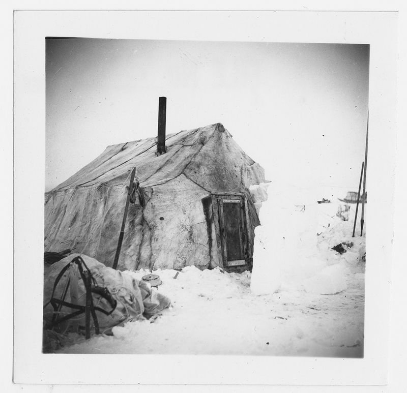 Deerskin tent (hairy side out) near Bathurst Post winter of 1951/52 & Deerskin tent (hairy side out) near Bathurst Post winter of 1951 ...