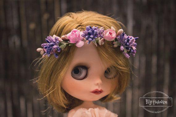 Diadema corona tiara flores para Blythe
