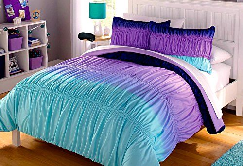 Aqua Blue Purple Ruffle Ruched Ombre Chevron Teen Girl