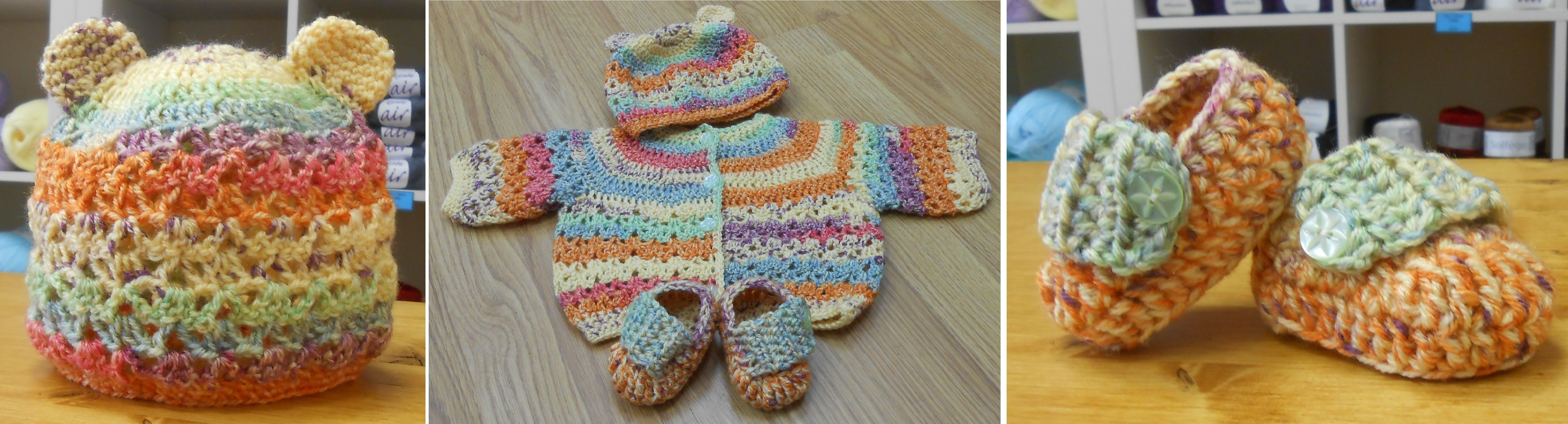 Matinee Coat, Hat and Booties Set in a beautiful colour run