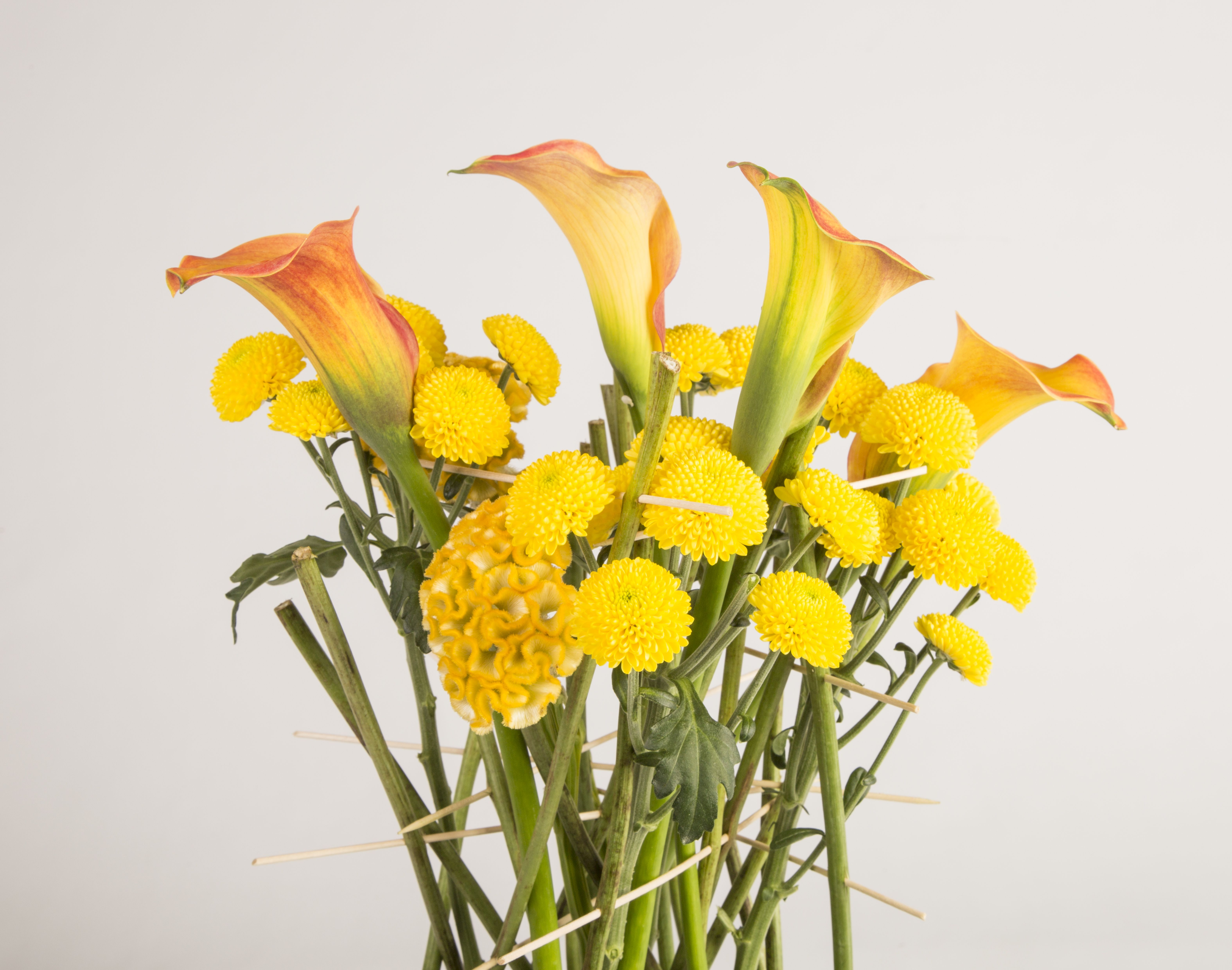 Bright Yellow Flower Design With Limoncello Chrysanthemums, Celosia, Calla And