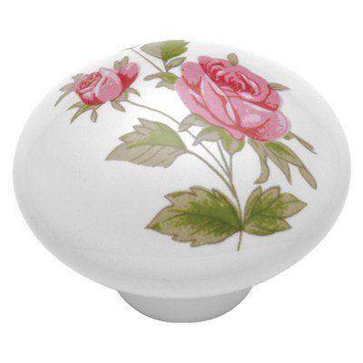 Hickory Hardware English Cozy Pink Rose Cabinet Knob - P602-PR