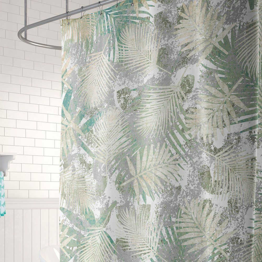 Gray Shower Curtain Tropical Bathroom Decor Palm Leaves Shower