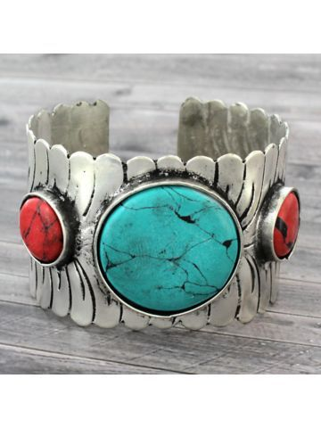 Turquoise and Coral Stone Accented Silvertone Cuff