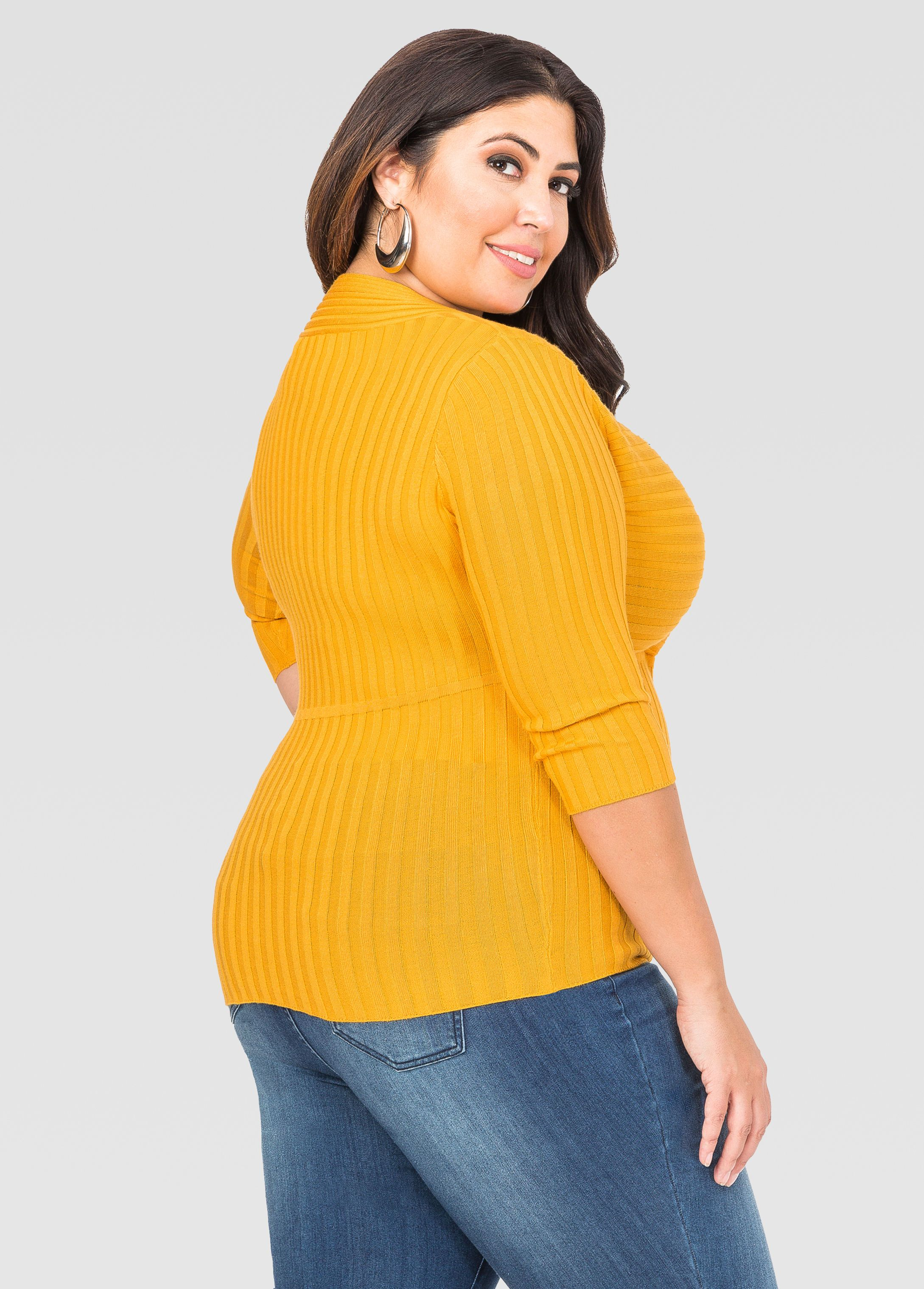 7a04897591a Deep V Fitted Ribbed Sweater - Ashley Stewart