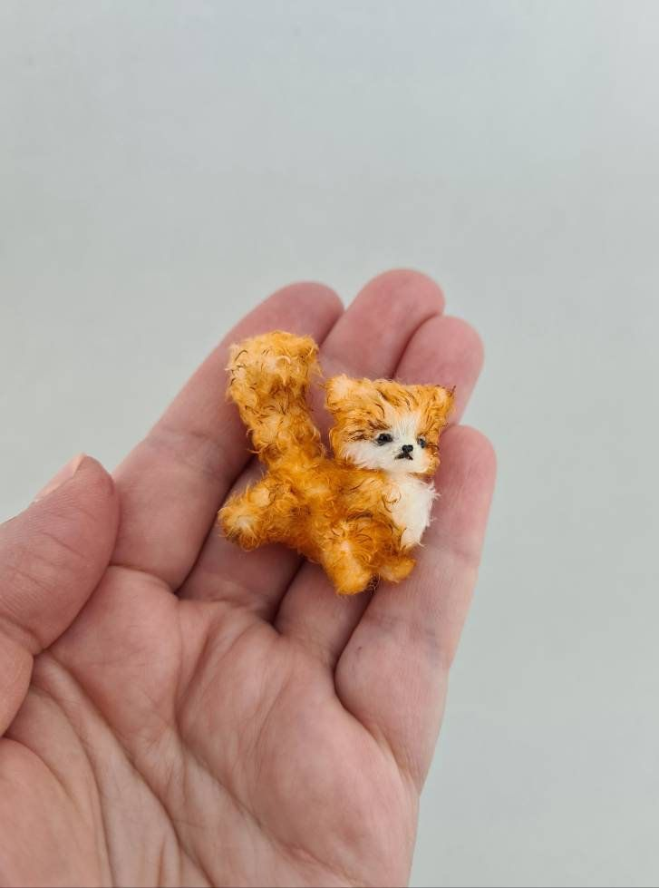 Fluffy brown ginger kitten, Stuffed animal cat, Miniature animals for dollhouse