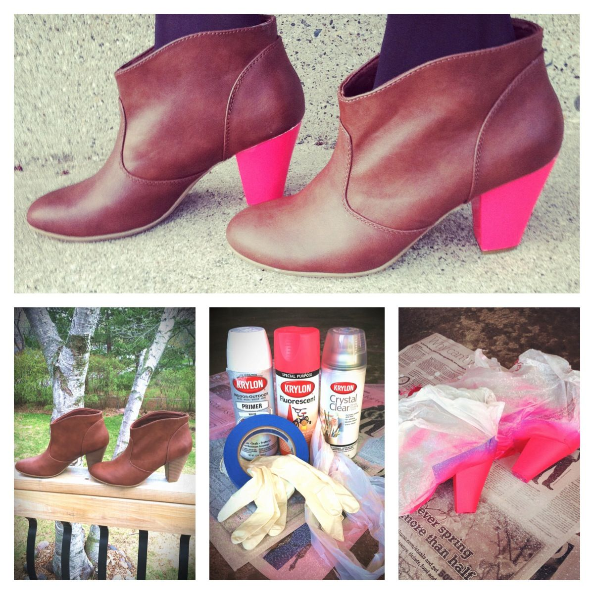 DIY Neon Heel boots, gorgeous. perfect for vintage into new. sand or repaint when the trend is done.