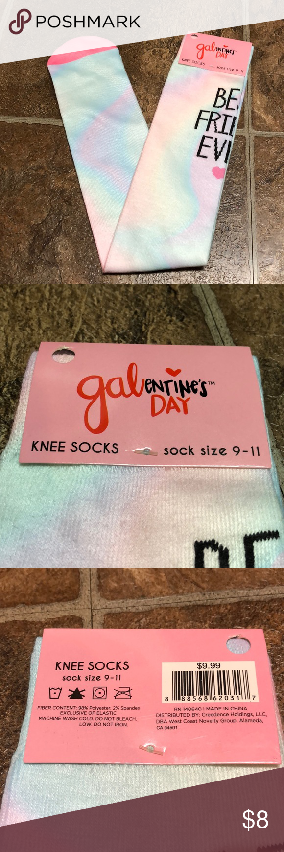 Galentime S Day Knee High Socks Bff Nwt In 2020 Knee High Socks Bff Knee High