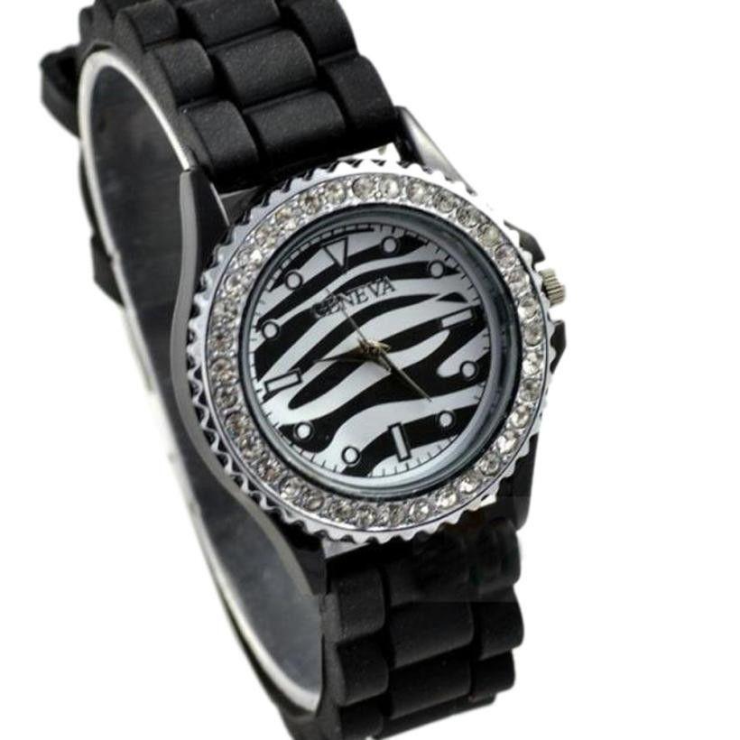 Top Brand GENEVA WomenWatch Jelly Quartz Crystal Silicone WristWatch Zebra Strip Stainless Steel Relogio Feminino orologio donna