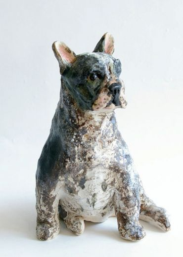 Ceramics by Lesley Martin at Studiopottery.co.uk - French Bulldog. Stoneware.  Height: 7inches Post and packing extra.