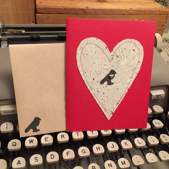 Crow Heart Card Valentine Handmade Paper by deadcatcreations