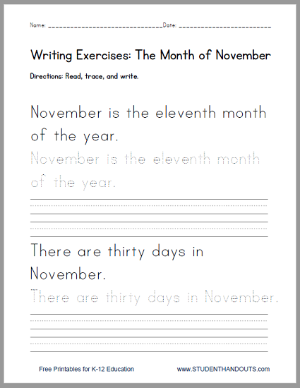 November Handwriting Practice Worksheet - Free To Print (PDF File). Handwriting  Practice Worksheets, Handwriting Practice, Learn Handwriting