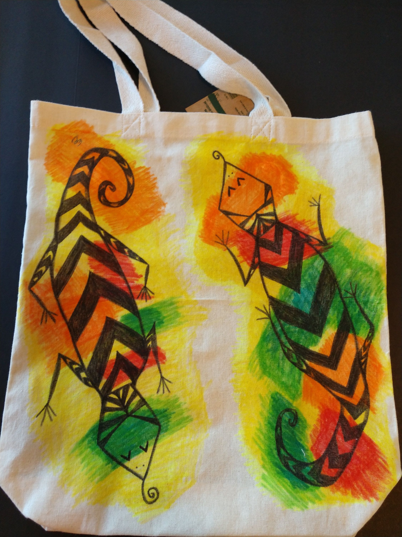 reusable bag Handmade hand painted mermaid tote bag