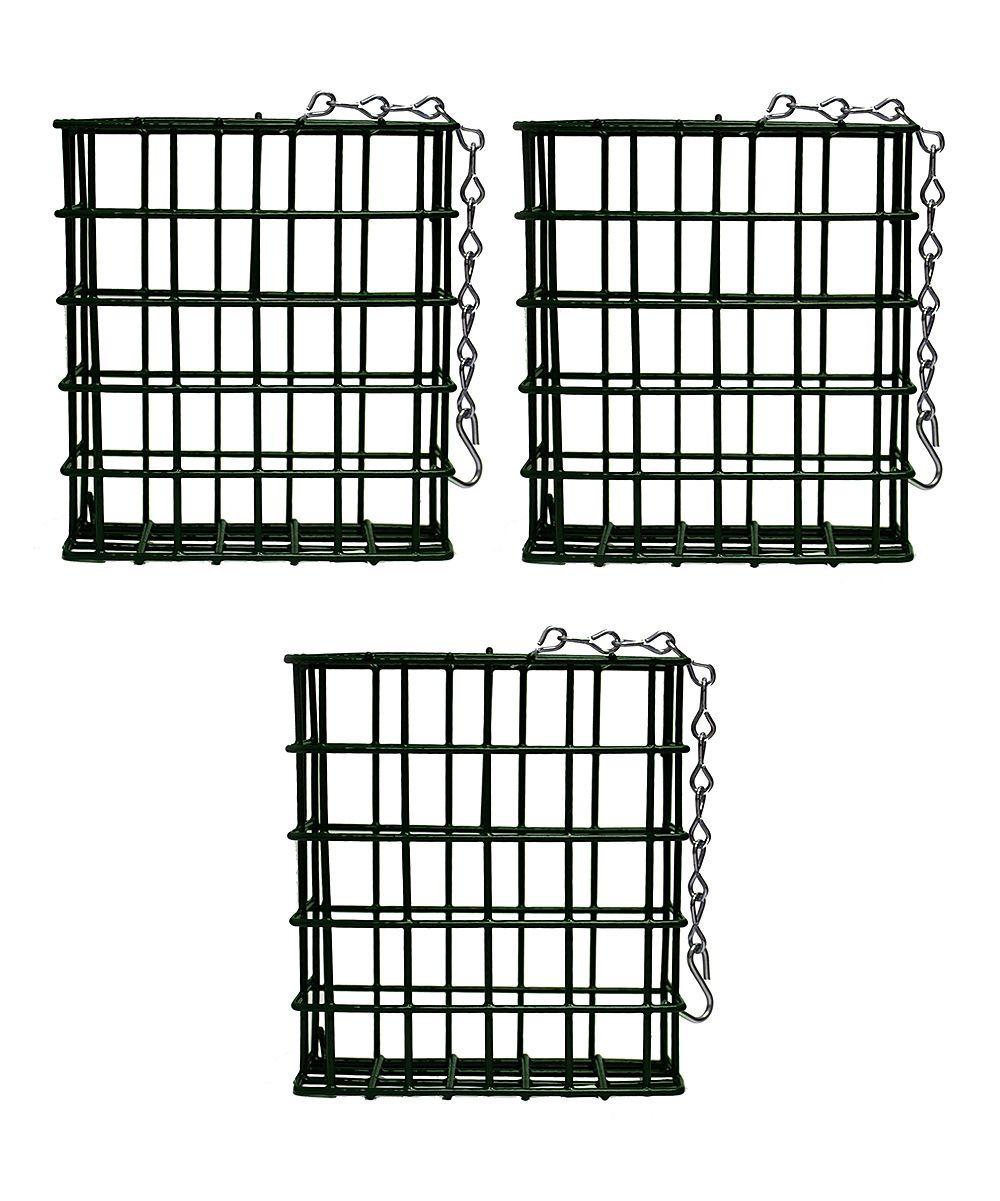 Green Single Suet Cage - Set of Three