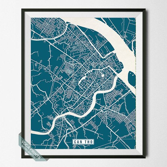 Can Tho Print Vietnam Poster Can Tho Map Can Tho by VocaPrints can