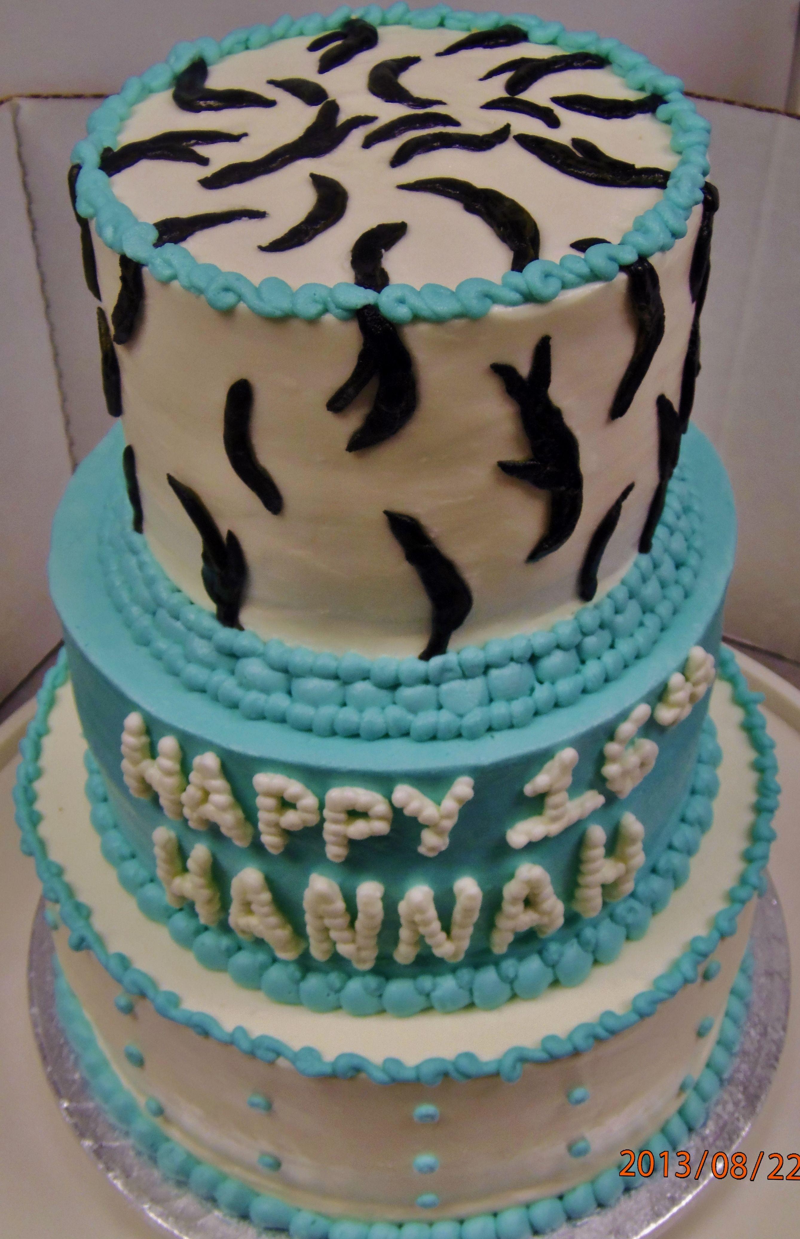 Zebra Print And Tiffany Blue 3 Tiered Teen Birthday Cake Teen
