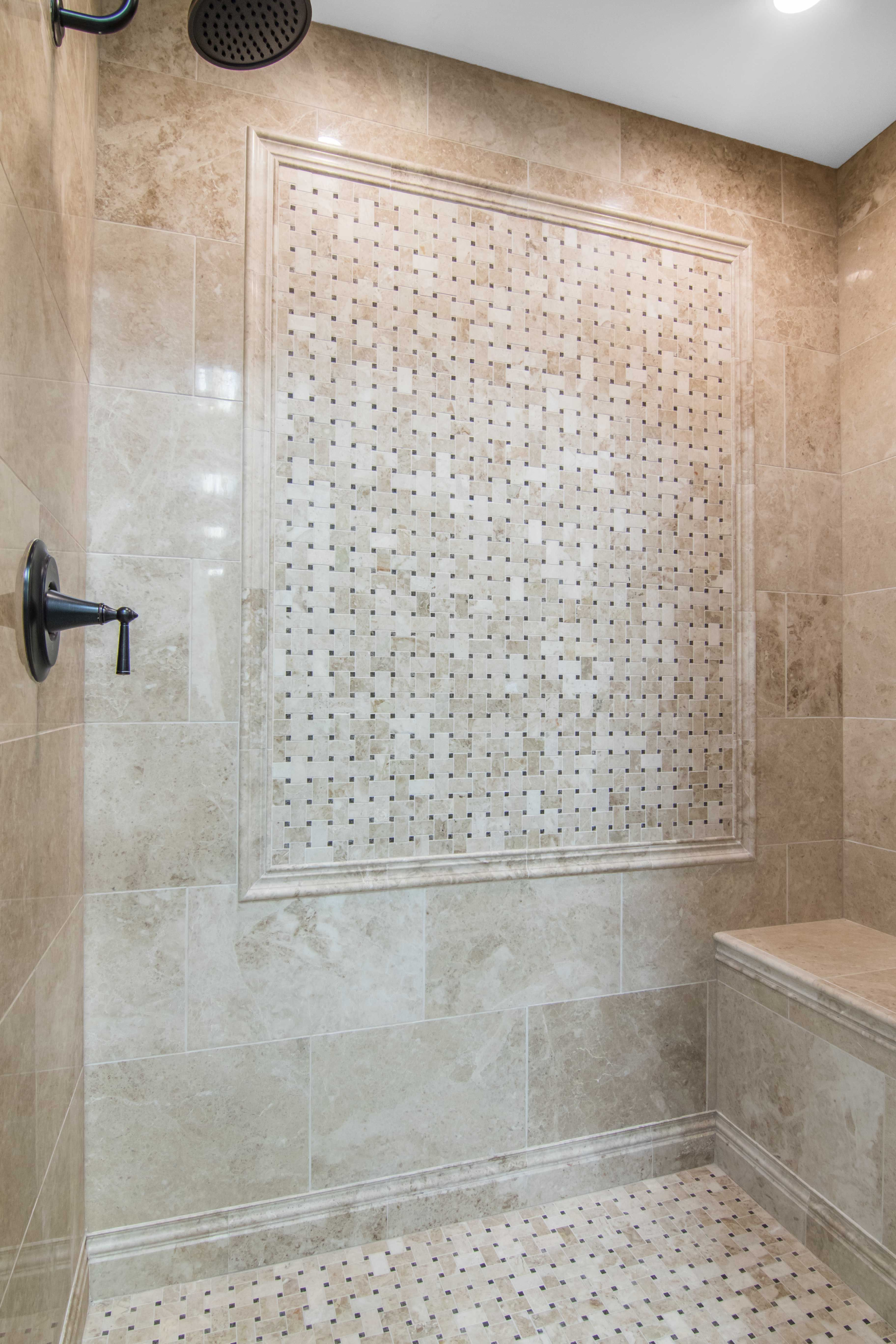 Bathroom shower focal point tile - Cappuccino Niles with Dark ...