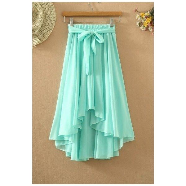 Fashion Elastic Belt Waist High Low Hem Beach Chiffon Plain Skirt ($21) ❤ liked on Polyvore featuring skirts, chiffon skirt, hi low skirt, hi low chiffon skirt, short front long back skirt and dip hem skirt