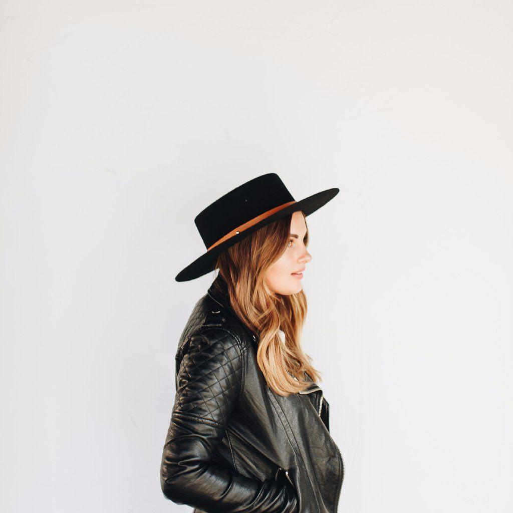 a84f91bd8a618 Dahlia Black with Cognac Band - Women s Stiff Wide Brim Felt Hat ...