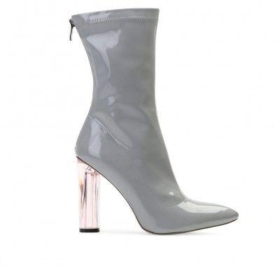 be71927890c Briella Perspex Heel Boots in Grey Patent