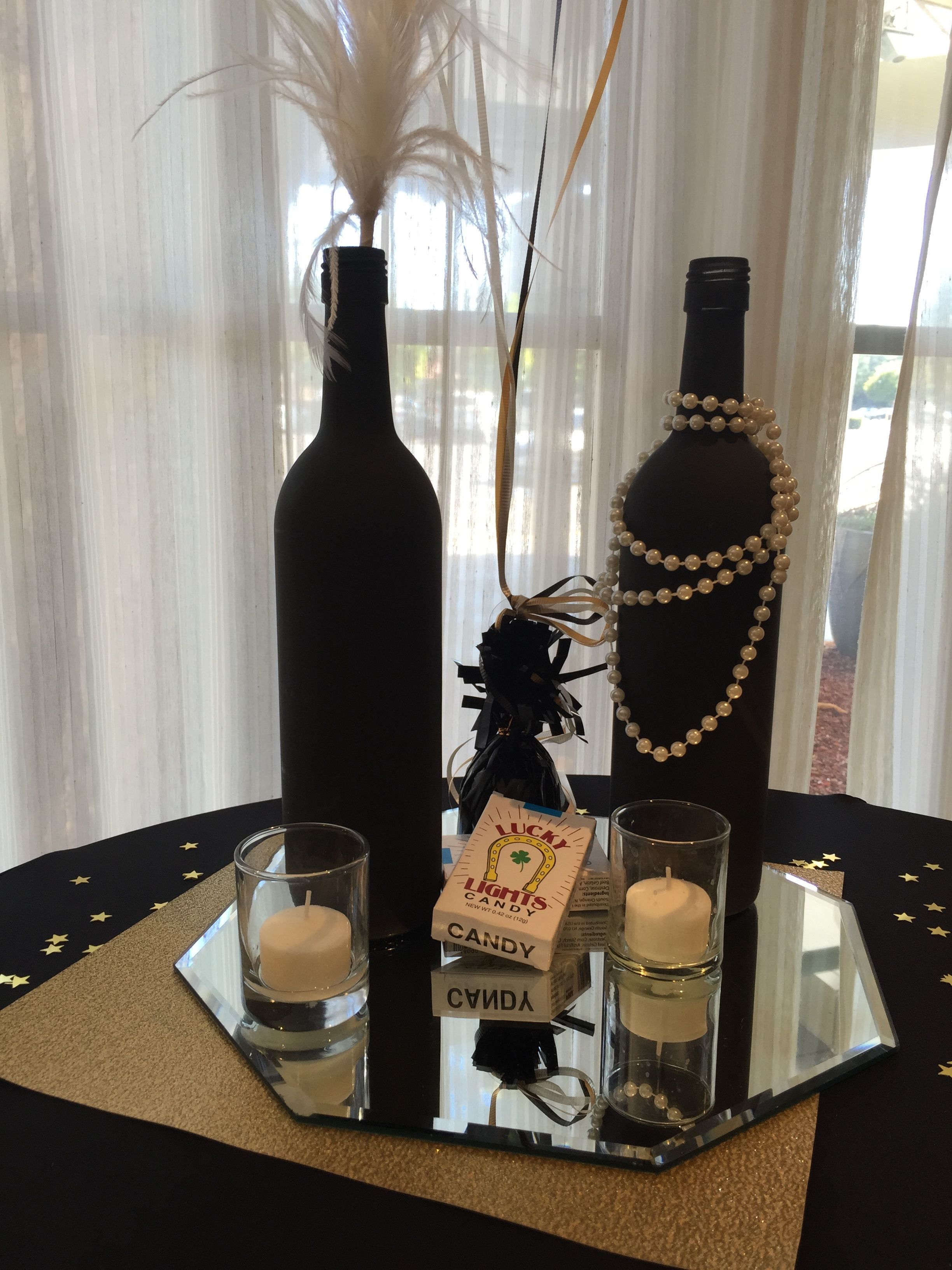 Painted Wine Bottles Centerpieces 1920 S Great Gatsby Gatsby