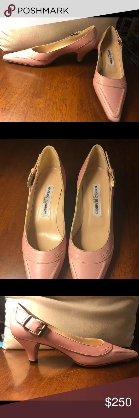 Manolo Blahnik Pale Pink Kitten Heels Pink Kitten Heels Manolo Blahnik Manolo Blahnik Shoes