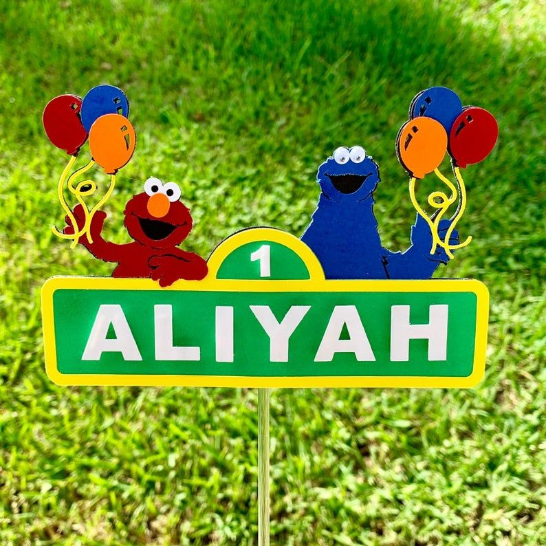 Cake topper sesame street elmo cookie monster with