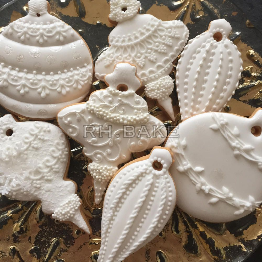 white christmas ornaments easily achieved with white royal icing white fondant molded - White Christmas Decorations