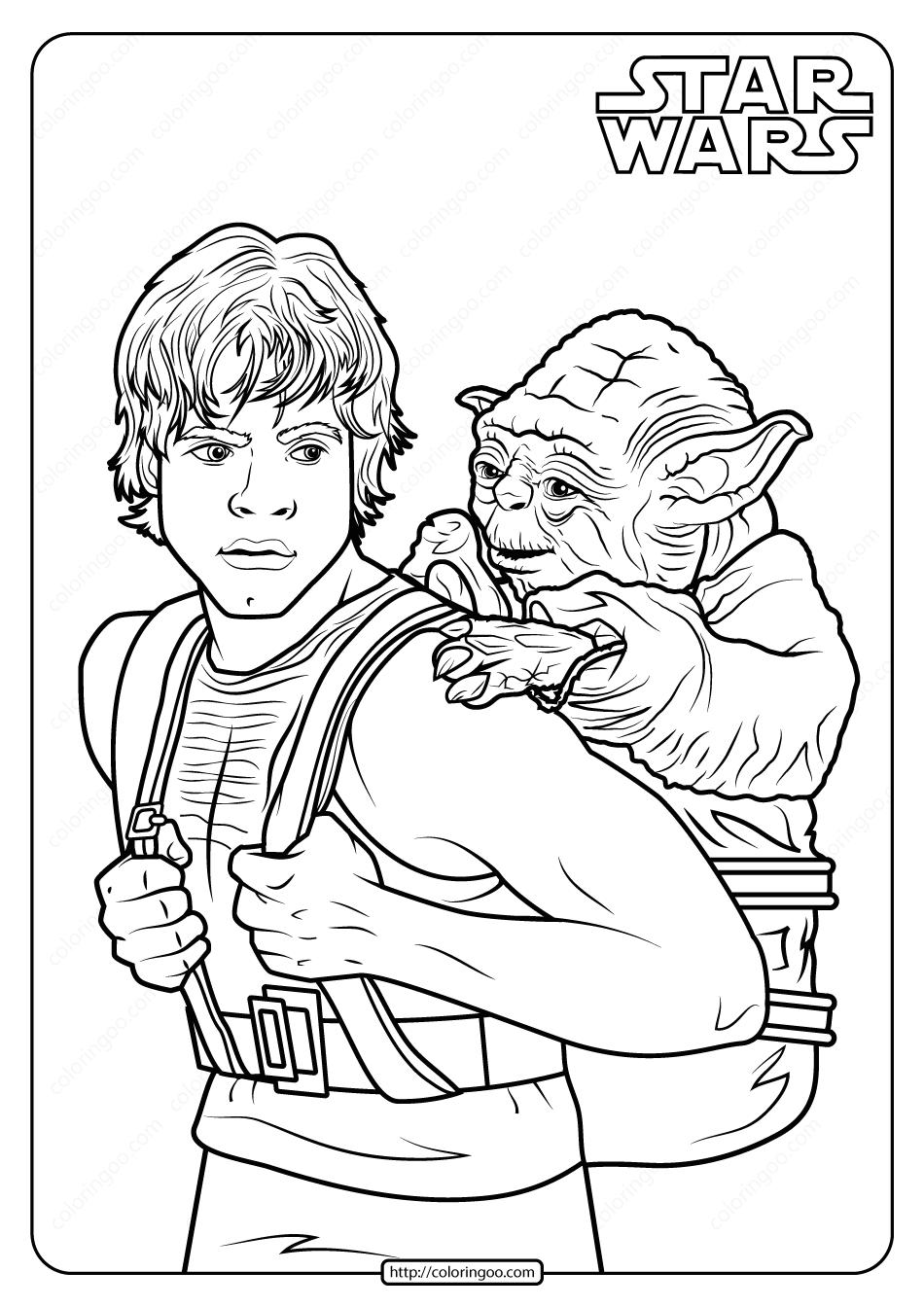 Printable Star Wars Luke And Yoda Coloring Pages Star Wars Coloring Sheet Star Wars Drawings Star Wars Activities