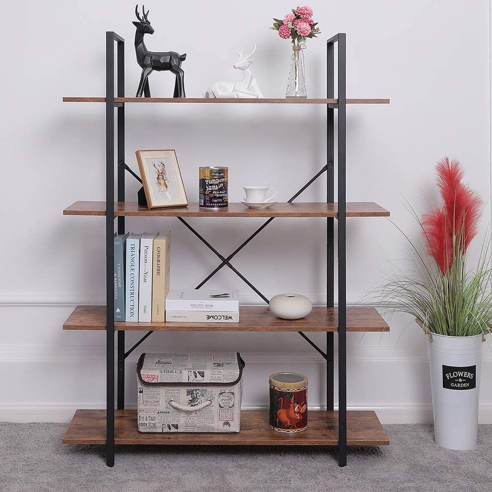 ORAF 4 Tier Bookshelf Industrial Style Bookcase, Vintage