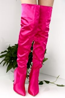 8eac61f9b FUCHSIA OVER THE KNEE SATIN POINT TOE SIDE ZIPPER STILETTO HIGH HEEL BOOTS  SHOES