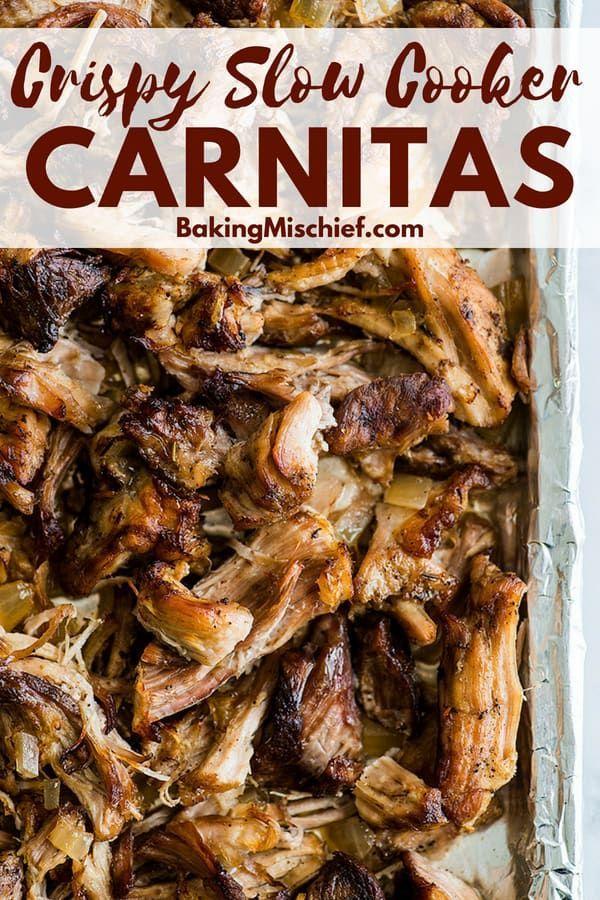 Crispy Slow Cooker Carnitas - Baking Mischief