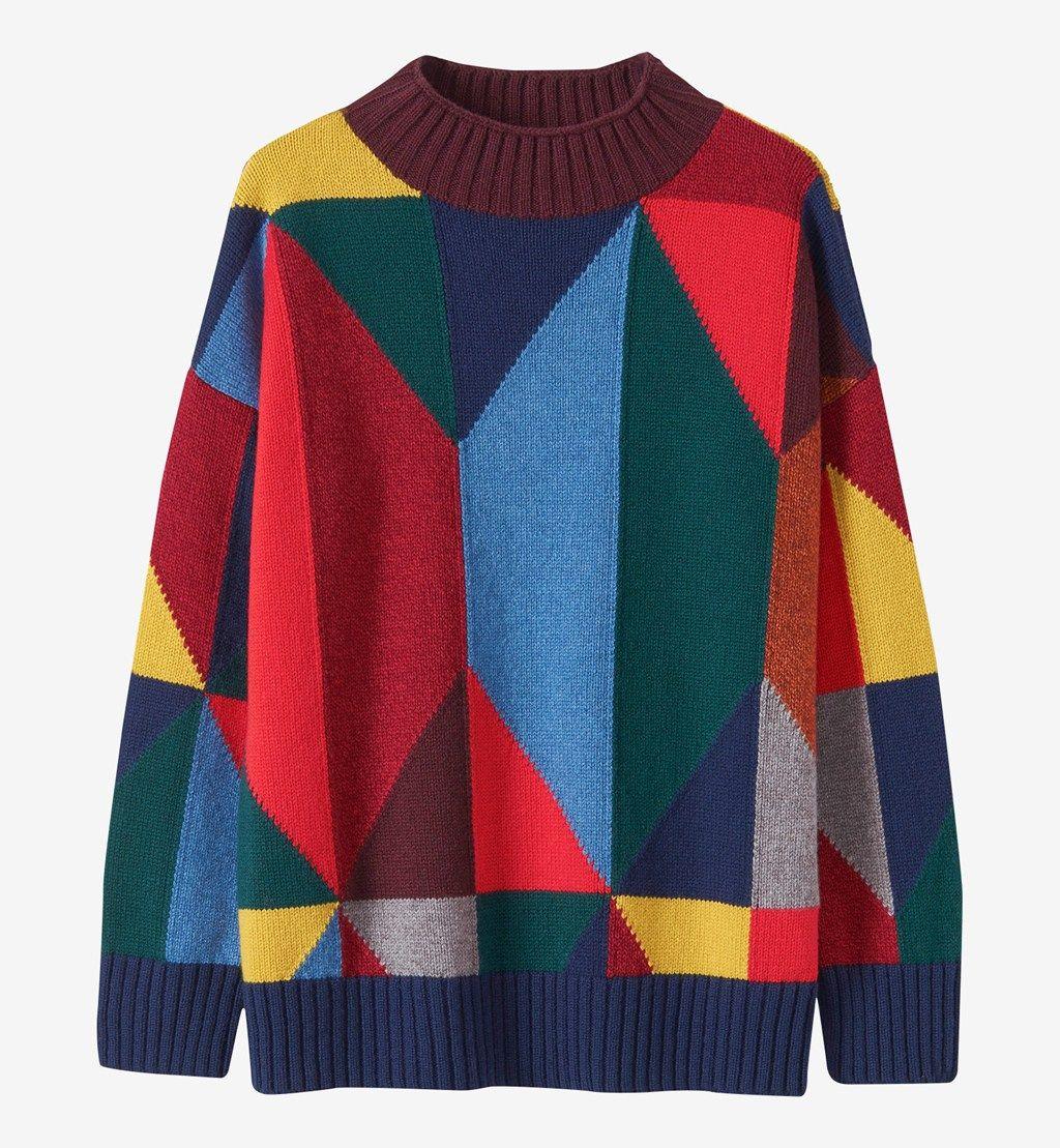 Crop sweater crop jumper multicolor sweater wool sweater retro sweater retro jumper print sweater hipster sweater warm sweater wool jumper