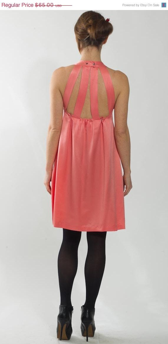 1990\'s Pink Dress - Vintage 1970\'s Prom Cocktail Silk Party Empire ...