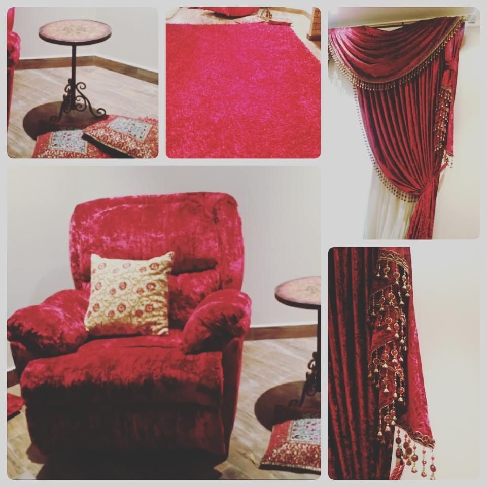For Sale Red Arcadia Chair Curtain Window Size 280x260 Red Carpet Size 200x300 Side Round Table Price 140 Bd للبيع ديكور Home Decor Decor Furniture