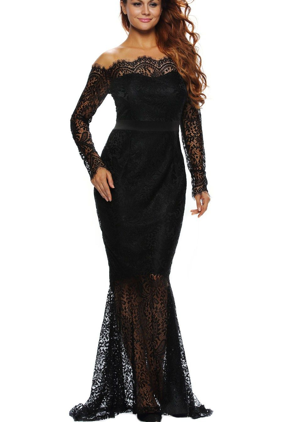 7dcfaab15538e Prix  €20.85 Robes de Soiree Noire Dentelle Sirene Manches Longues Cocktail  Pas Cher www.modebuy.com  Modebuy  Modebuy  Noir  style  mode