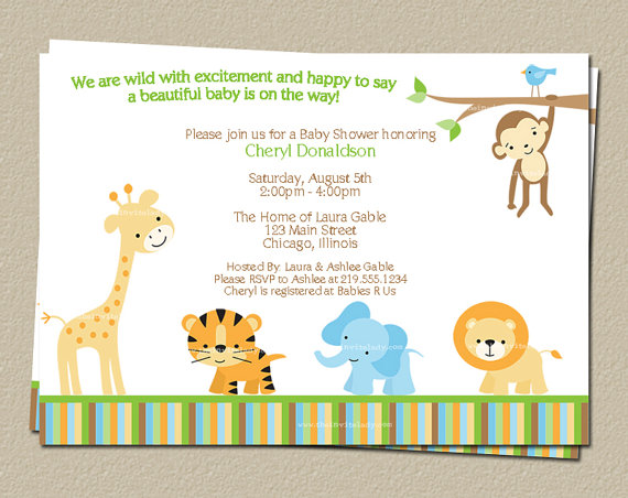 Digital Jungle Theme Baby Shower Invitation Safari Zoo Animals